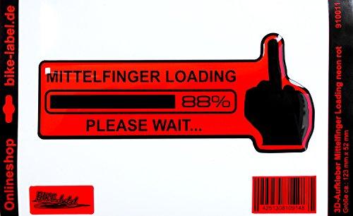 Pegatinas/3d–Te dedo medio Loading 910011–En Neon de Color Rojo–No más barato pantalla–Adhesivo...