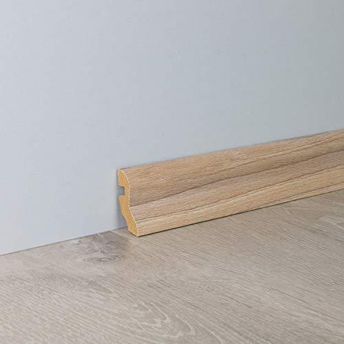 Sockelleiste Fußbodenleiste S-Profil aus MDF in Ulme Hell mit Perlstruktur 2600 x 20 x 40 mm