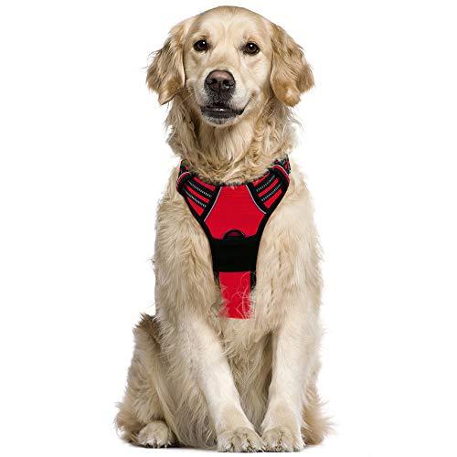 rabbitgoo Arnés Pecho Grande Perro Arnés Rojo para Perro Grande Chaleco Acolchado Mascota Correas Reflectores Mejor Seguridad Color Rojo Tamaño L Grande