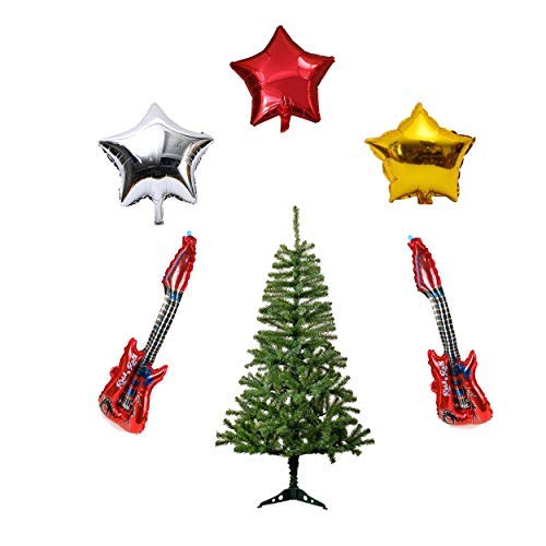 Party Hub 2 Feet Artificial Xmas Tree/Christmas Tree with 2 Pcs Guitar Foil Balloon and 3 Pcs Star Foil Balloons
