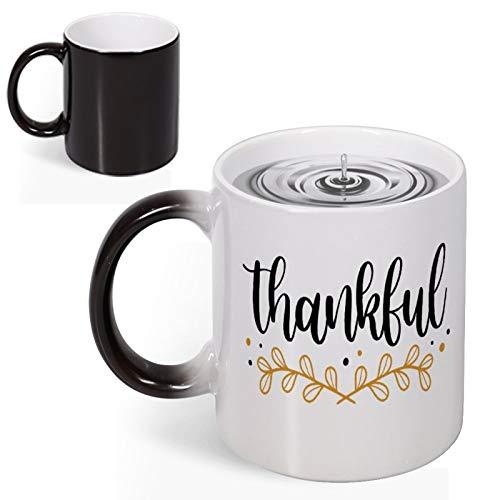 Dankbar, Thanksgiving, GIF Kranz, Tassen, Farbwechsel, wärmereaktive Kaffeetassen, lustige Keramik-Tassen für Kinder, Mädchen, Jungen, Thanksgiving, Herbst, Geschenke, 325 ml