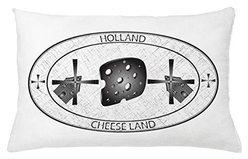 ABAKUHAUS Nederlands Sierkussensloop, Kaas Land Holland Windmolen, Decoratieve Vierkante Hoes voor Accent Kussen, 65 cm x 40 cm, Wit en Grijs