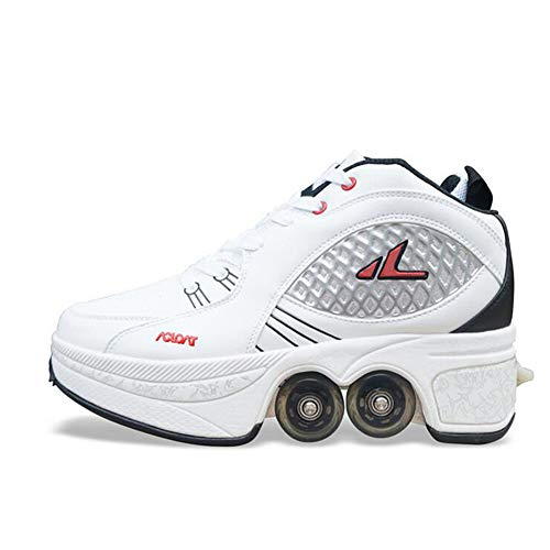 MLyzhe Roller Shoes Male and Female Double-Row Deform Wheel Skating Shoes Adult Children's Automatic Walking Shoes Invisible Pulley Shoes Skates,White,38