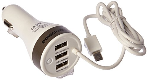 Poweradd 4.2A / 21W Car Charger Adapter with Three USB-Port and One Linked Micro USB Cable for iPhone 6 / 6s Plus / 5/6 Plus, iPad Pro/Air 2 / Mini 3, Galaxy S6 / S6 Edge and More-White