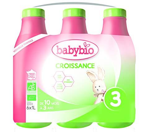 Babybio - Lait de Vache français - Croissance Lait Liquide 6 x 1 L - 10+ Mois - BIO
