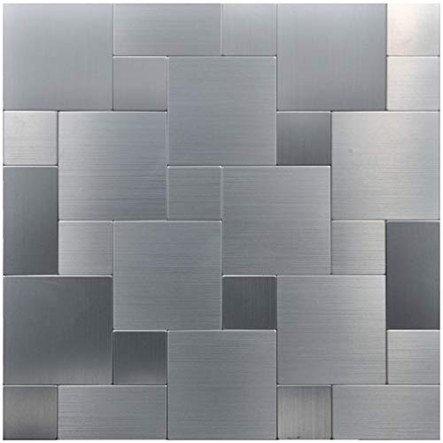 Art3d Peel and Stick On Metal Steel Backsplashes, Puzzle Brush Silver Square (5 Tiles)