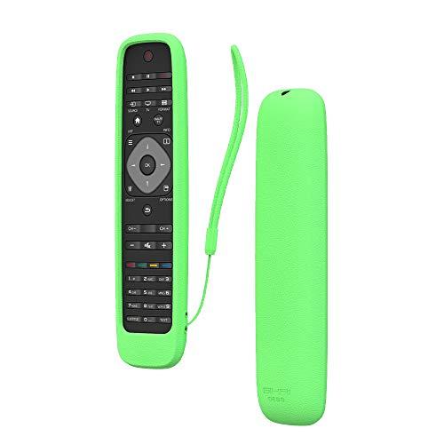 SIKAI CASE Ajustado Adapta Mando Funda de Silicona Compatible con Philips TV Remoto, Anti-caída Carcasa de Protección a Prueba de Golpes, Protectora Cubierta, Tamaño 20.7*5.28*2.38cm (Luminoso Verde)