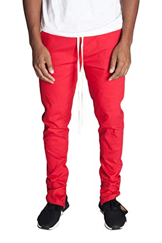 KDNK Men's Tapered Skinny Fit Joggers - Urban Drawstring Pants with Ankle Zipper (X Large, Red)