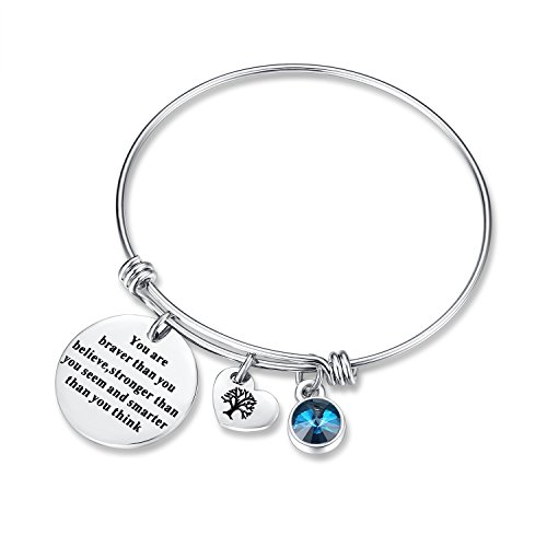 December Birthstone You Are Braver Than You Believe Think Charm Bracelet Jewelry...