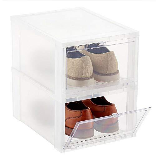 2 cajas de zapatos transparentes apilables con tapa, organizador de zapatos para hombre y mujer, 36 x 29 x 19 cm, color blanco