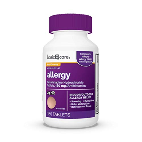 Amazon Basic Care Allergy, Fexofenadine Hydrochloride Tablets-180 mg, Peach, 150 Count (Pack of 1)