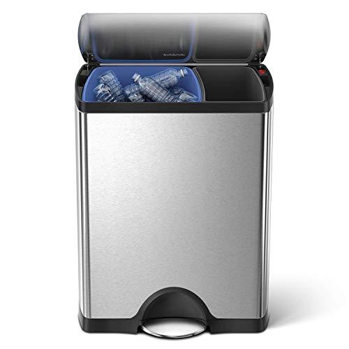simplehuman 46 Liter / 12.2 Gallon Stainless Steel Rectangular Kitchen Dual Compartment Step Trash...