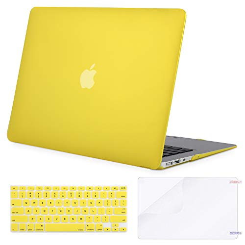 MOSISO Plastic Hard Shell Case & Keyboard Cover & Screen Protector Only Compatible with MacBook Air 13 inch (Models: A1369 & A1466, Older Version 2010-2017 Release), Yellow