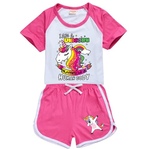 LIYIMING Einhorn Mädchen Schlafanzug Kurz Girls Pyjamas Shorts Kinder Sommer Schlafanzug Sets (05,7-8Y)