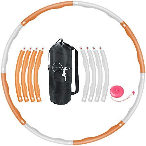 Oxsaytee Hula Hoop neumáticos, 1,2 kg, círculo de fitness pérdida de peso para entrenamiento de fitness adultos y niños, 8 neumáticos desmontables con mini cinta métrica, naranja y blanco