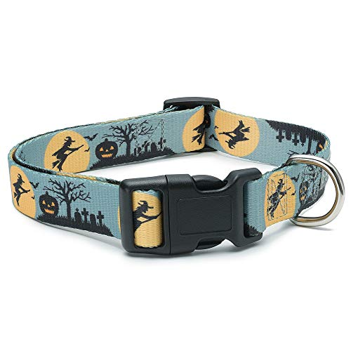 Halloween Blue Dog Collar with Witches