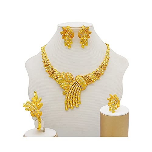 XJTJSM Conjuntos de joyería de Oro, Pendientes de Collar de Mujer Flores de Accesorios de Novia Conjuntos de Joyas, Collar (Color : 1)