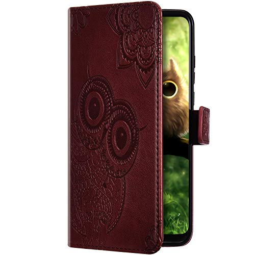 Uposao Compatible with Samsung Galaxy A41 Leather Mobile Phone Case Flip Protective Wallet Flip Case Vintage Mandala Flowers Owl Pattern Book Style Case Magnetic Card Slot Brown