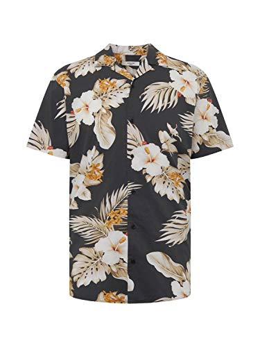 JACK & JONES - Camicia Uomo Maniche Corte Nero Hawaiana - Taglia L
