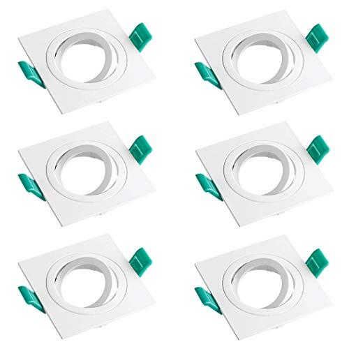 SEBSON Einbaustrahler eckig schwenkbar 6er Pack, Alu weiß Einbaurahmen Lochdurchmesser 80mm, Decken Spot inkl. GU10 Fassung für LED/Halogen