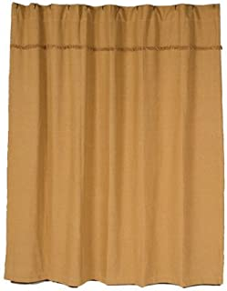 VHC Brands 6172 Burlap Natural Shower Curtain Unlined 72x72, 72 x 72,