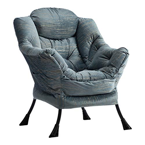 AbocoFur Modern Large Cotton Fabric Lazy Chair,Accent Contemporary Lounge Chair, Single Steel Frame Leisure Sofa Chair with Armrests and A Side Pocket, Gilding Light Blue