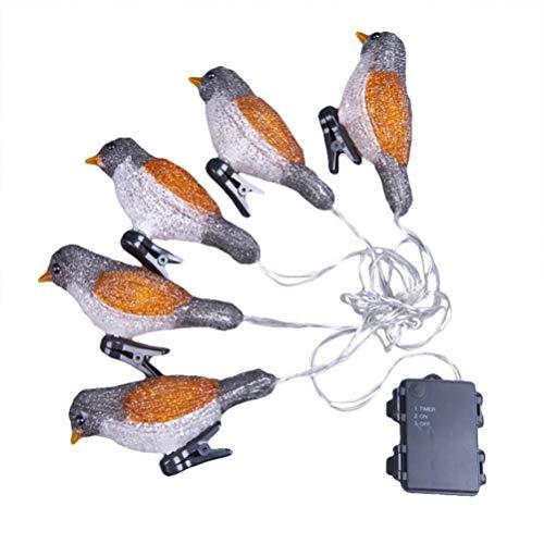 SOLUSTRE Pájaro Luces de Cadena Decorativas 3D Acrílico Pájaro Estatuilla Luz con Clips Batería para Bricolaje Hogar Fiesta de Año Nuevo Vacaciones Boda Dormitorio Decoración de La Casa