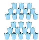 Margueras - Lote de 24 mini cubos de metal para peladillas, bombonera, maceta pequeña, color azul