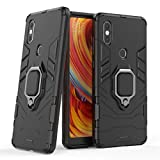 LuluMain Compatible with Xiaomi Mi Mix 2S Case, Metal Ring Grip Kickstand Shockproof Hard Bumper Shell (Works with Magnetic Car Mount) Dual Layer Rugged Cover for Xiaomi Mi Mix 2S (Black)