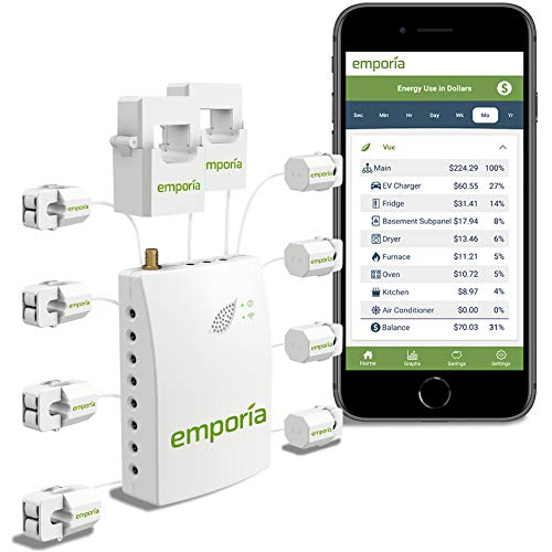 Gen 2 Emporia Vue Smart Home Energy Monitor with 8 50A Circuit Level Sensors | Real Time Electricity Monitor/Meter | Solar/Net Metering