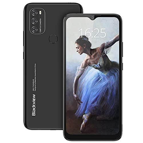 Blackview A70 Handy, Android 11 Octa-core 6.517 Zoll HD mit 5.380mAh Batterie, 3GB RAM+32GB Speicher, 13MP+5MP Kamera, Fingerabdruck Sensor, 4G Smartphone ohne Vertrag Schwarz
