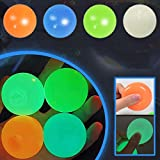 MARLBSIDE Ceiling Sticky Balls, Glow Squishy Stress Balls, Gobbles Sticky Balls, Stress Relief Balls for Adults and Kids, Fidget Toys Glow in The Dark Ball,(4 pcs) (Normal)