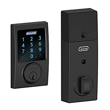 Schlage Z-Wave Connect Century Touchscreen Deadbolt with Built-In Alarm, Works with Alexa via SmartThings, Matte Black, BE469 CEN 622