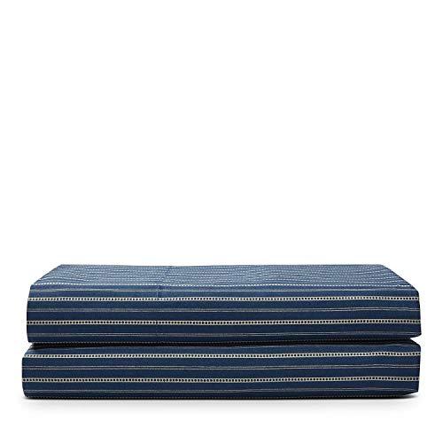 Ralph Lauren Rue Vaneau Bedding Collection Wendell Stripe Queen Flat Sheet Navy Ecru