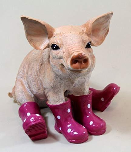 Vamundo Sitzendes Deko Schwein mit Gummistiefel brombeer # Ferkel # wetterfest