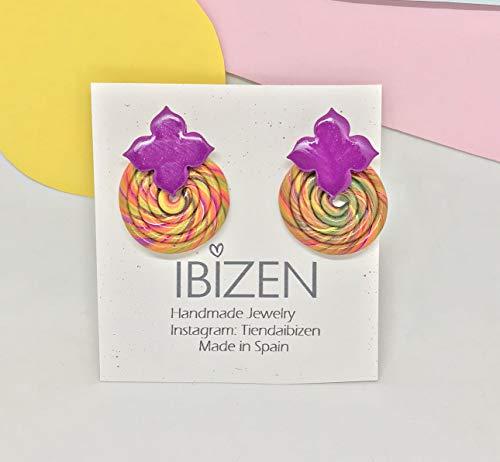 ELIE Orecchini eleganti e divertenti per un regalo originale unico per l'estate. Spirale Lecca Lecca di colori per le donne. Orecchini in argilla polimerica viola.