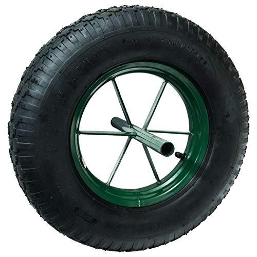 WerkaPro 10357 - Roue gonflable Increvable 15'- D : 385 x 95 -Diamètre de l'axe : 20 mm - Longueur de l'axe : 242 mm - Idéal pour diable, chariot