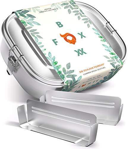 FOXBOXX® Brotdose Edelstahl | Premium | GRATIS > 2 Trenner / 3 Fächer | DualCham Dichtung & Smart Clips | Auslaufsichere, umweltfreundliche Lunchbox für Kinder & Erwachsene | Mini 800ml