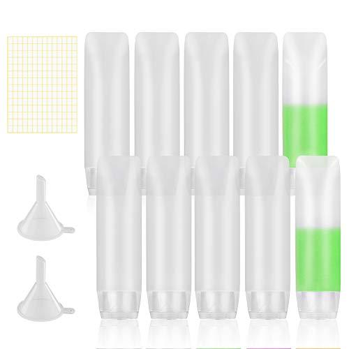 LAMEK 10 Pcs Botellas de Viaje de Silicona Vacios Frascos de Loción Viaje Transparente Botes con 2 Embudo de plastico y 1 Etiqueta Cosmetica Contenedor de Líquidos para Champú Loción Acondicionador