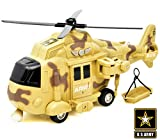 US Army Military Helicopter Friction Powered Rescue Vehicle for Boys, Push and Go Chopper Toy with Action Lights and...