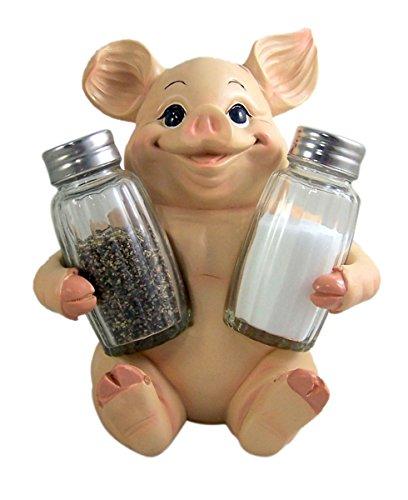Decorative Pig Salt and Pepper Shaker Set with Holder 6.5 Inch