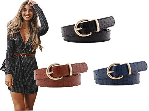 Longwu [3 paquetes] Cinturones de cuero para mujer Cinturón de jeans de piel sintética con patrón de cocodrilo para damas y niñas