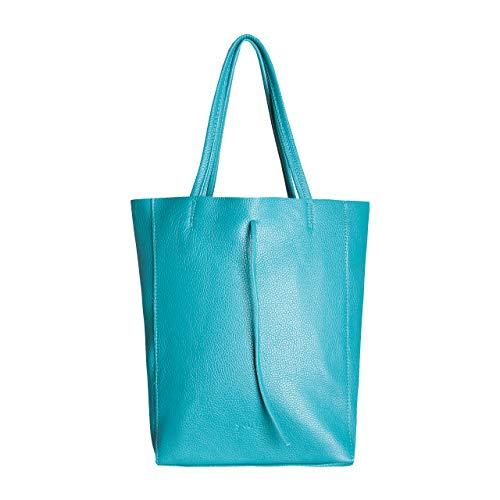 SKUTARI® Vittoria Classic - Damen Shopper aus echtem Leder, Handtasche mit eingenähter Innentasche, handgefertigt in Italien, Fashion Tragetasche, Beuteltasche mit langen Griffen,