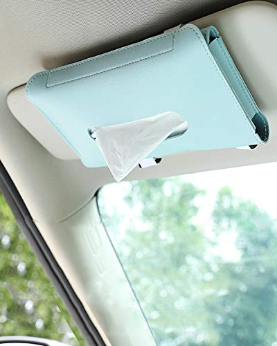 Car Tissue Holder, Sun Visor Napkin Holder, Car Tissues Box, PU Leather Backseat Tissue Case for Car Tissue Refill Supplies, Vehicle (Blue)