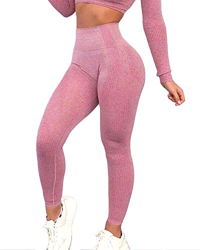 FITTOO Women's High Waist Seamless Leggings Ankle Yoga Pants Tummy Control Running Workout 4 Way Stretch Tights Peach Butt Pink(M)