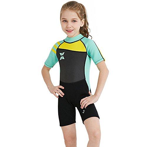 Axiba Meisjes badpak duikpak Siamese korte mouw anti-zon snorkelen pak badpak S(95-105cm) C