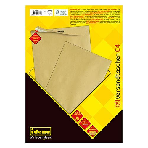 Idena 10234 - Versandtasche C4, 90 g/m², haftklebend, ohne Fenster, braun, 10 Stück