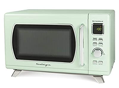 Nostalgia MCMO9FTSG Mid-Century Retro 0.9 Cu. Ft. 900-Watt Countertop Microwave Oven With LED Display, 5 Power Levels, 8 Cook Settings, Seafoam Green