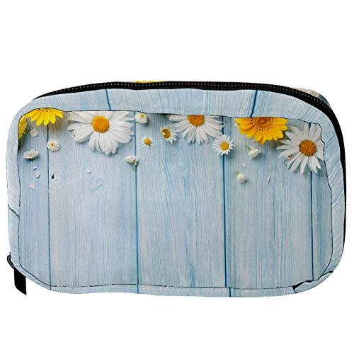 Bolsas cosméticas de jardín con diseño de flores sobre tabla de madera azul práctica bolsa de viaje Oragniser bolsa de maquillaje para mujeres y niñas