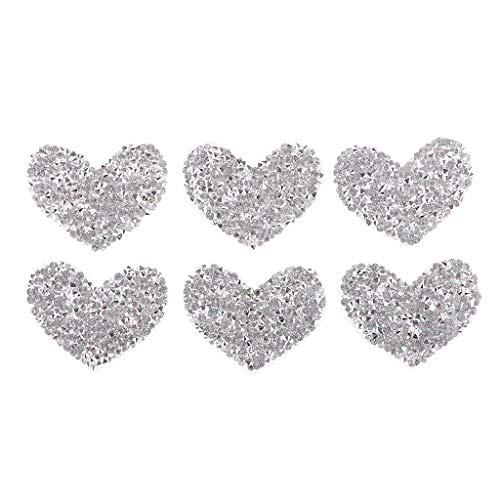 joyMerit Apliques Transparentes de Diamantes de Imitación de Cristal de Corazón con Cuentas de Plata de 6 Piezas Coser/Planchar
